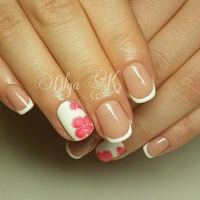 Accurate nails, Beautiful summer french nails, Everyday nails, flower nail art, French manicure, French manicure ideas, French manicure with pictures, ring finger nails