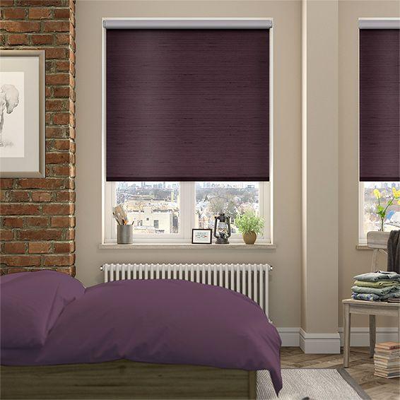 Choices Dupioni Faux Silk Purple Blackout Roller Blind