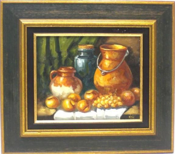 Vañó : Still life. Medium: Oil on canvas Measurements (cm): 44x39 Canvas measurements (cm): 27x22 Interior frame: Yes. Pretty still life signed by Vaño, within its impressionist lines are great colour and luminosity.  $176.83
