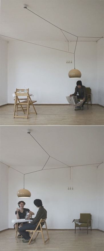Satellight by Yi Cong Lu;  uses hardware and color-coded cables to provide a single hanging lamp that can roam around the room as needed