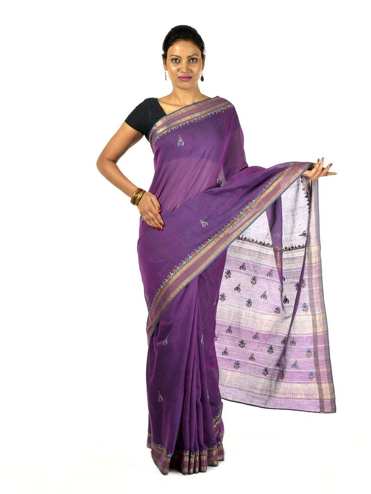 Purple chikan Maheshwari Saree