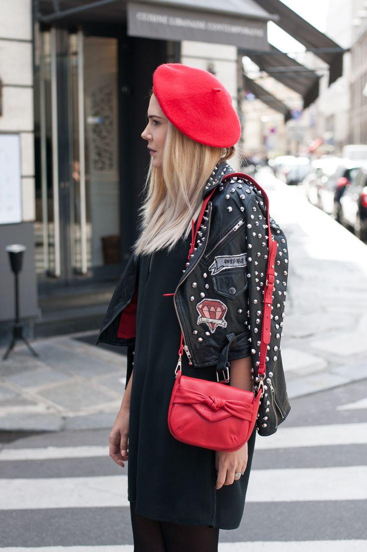 Sorana rocked her outfit with pops of red from her beret to the .Kate Lee LEANI style.   #katelee #bags #style