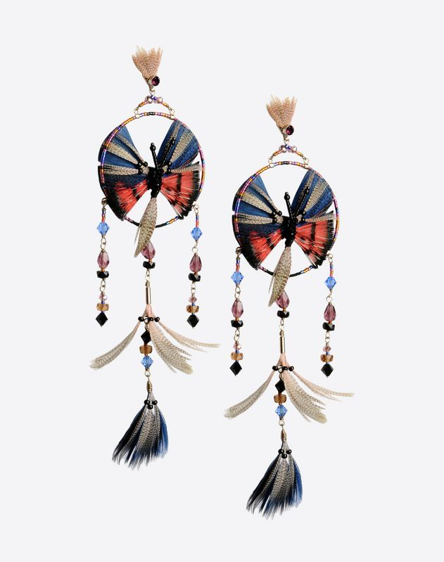 Valentino Garavani dream catcher pendant earrings. Butterfly hand embroidered with feathers and beads. Butterfly back closure