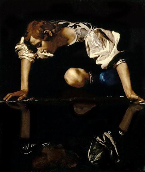 """""""Narcisse"""" huile sur toile de Le Caravage (Michelangelo Merisi ou Amerighi da Caravaggio) (1571-1610) peintre italien. Son œuvre puissante et novatrice révolutionne la peinture du XVIIe siècle par son caractère naturaliste, son réalisme parfois brutal"""