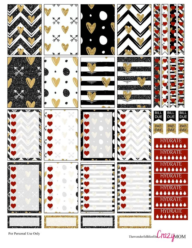 Free Black and Gold Valentine Stickers for the Happy Planner