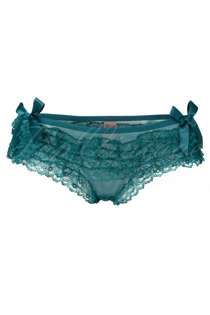 Playful Promises - Frilly Knickers in Peacock Green