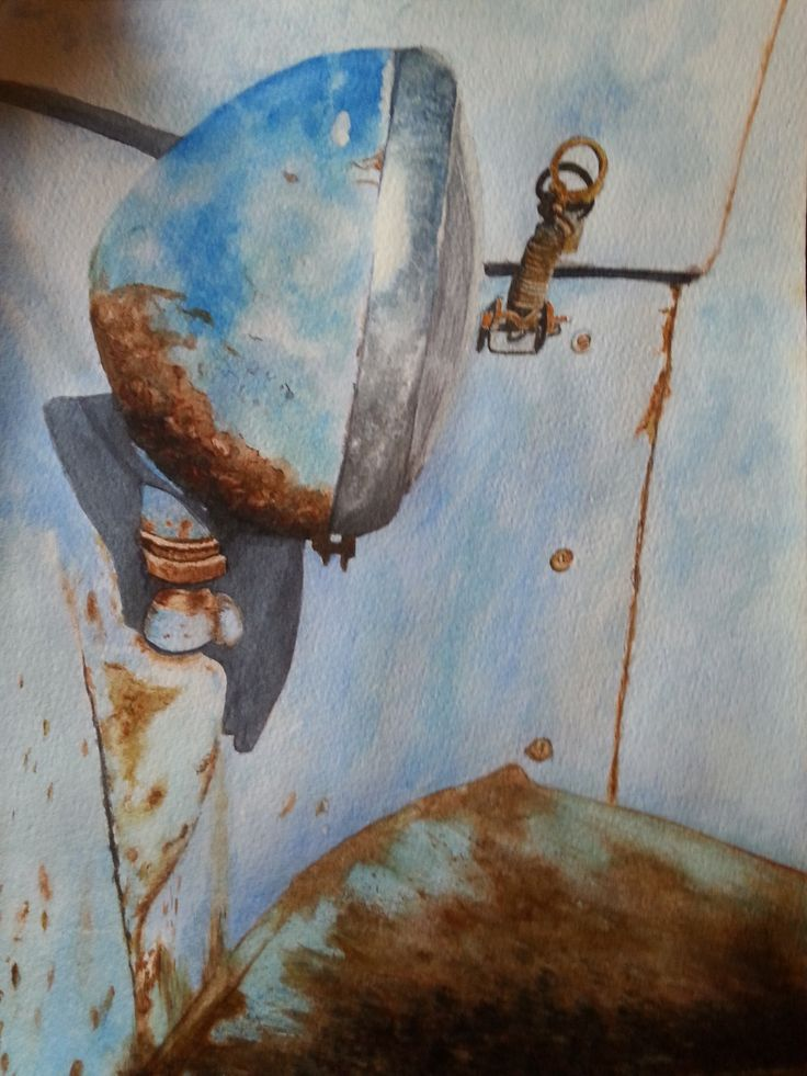 Abandoned car, in water colour, by Gayner Vlastou