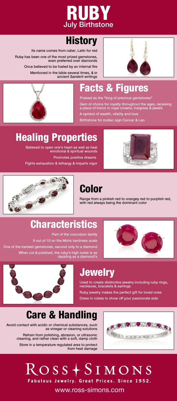 Learn about the history, facts, healing properties, color, characteristics and how to care for July's Birthstone, Ruby.