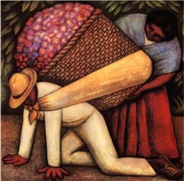 Diego Rivera- The Flower Carrier 1935  This painting shows an image of a small peasant looking man carrying a basket full nice and bright flowers. In behind him stands a woman helping place the flower carrier on his back. This seems to show as if the big basket is pushing him down toward the floor. http://www.bilaterals.org/?tpp-opponent-skewers-mexico-s