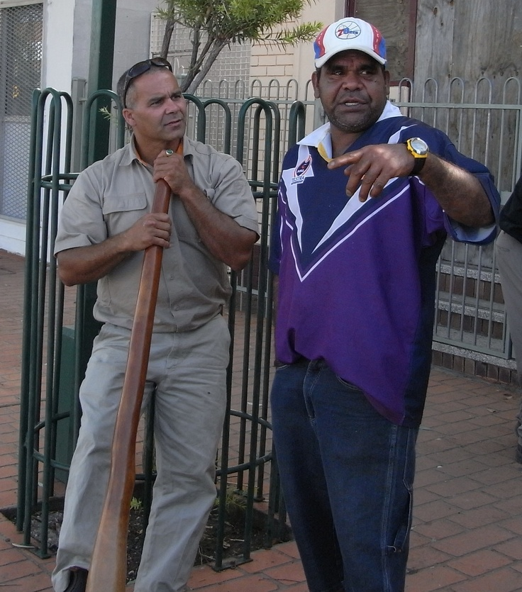 Teo and mate in Walgett near Lightning Ridge. Teo is a master Didgeridoo player and aboriginal dancer
