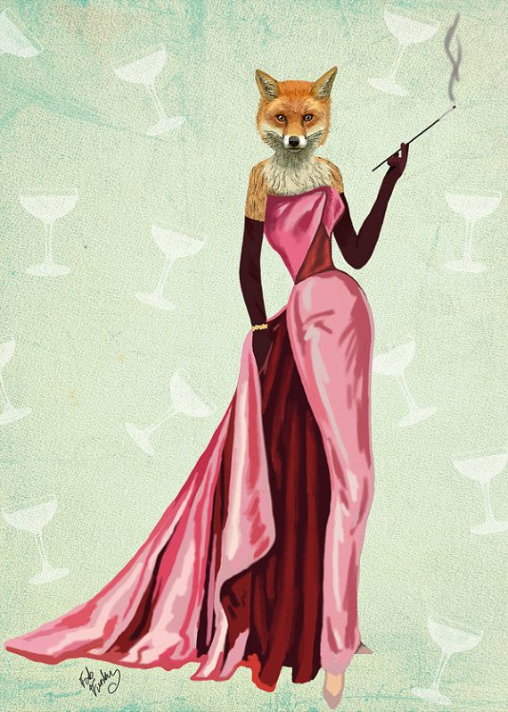 Glamour Fox in Pink, Fox Print 14x11 Art Poster Original Illustration Wall Art wall decor wall hanging Fox Picture Audrey Hepburn Foxy Lady
