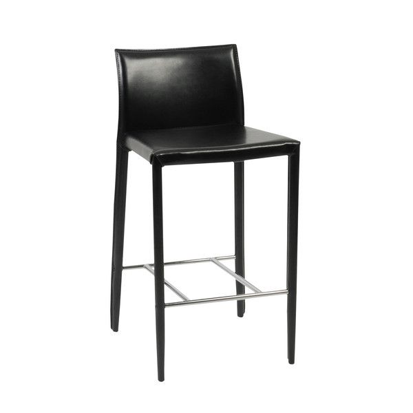 Black Leather Counter Stools Part - 41: Euro Style Shen-C Counter Stool In Black Leather (Set Of 2)