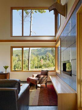 rivets in fp wallAspen Creek Residence - modern - Living Room - Salt Lake City - Carney Logan Burke Architects