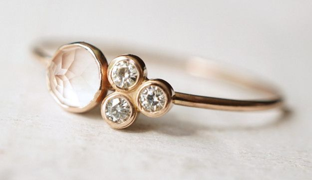 31 non-traditional engagement rings. A rose quartz and moissanite ring that confirms that four is not a crowd.