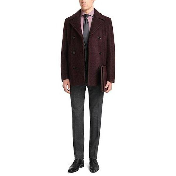 Gestreiftes Slim-Fit Hemd aus Baumwoll-Mix: 'Jason' mit einem rot-braunem Blazer.