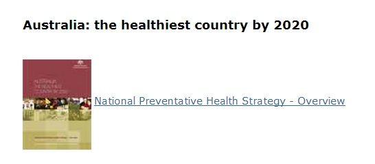 National Preventative Health Strategy