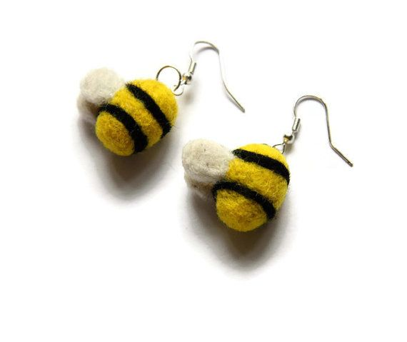 Needle Felted Bumblebee Earrings Bee Earrings by Middlemistmakes1