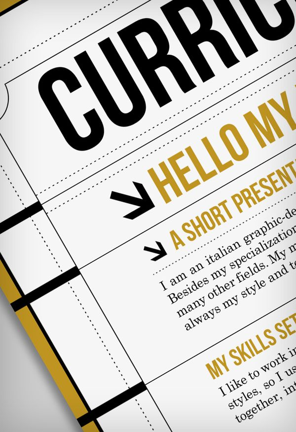 Kick Ass Resume Layout. By Riccardo Sabatini, Via Behance.
