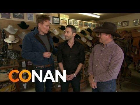 Conan Takes Jordan Schlansky To A Cowboy Shop - #funny #Conan #cowboy