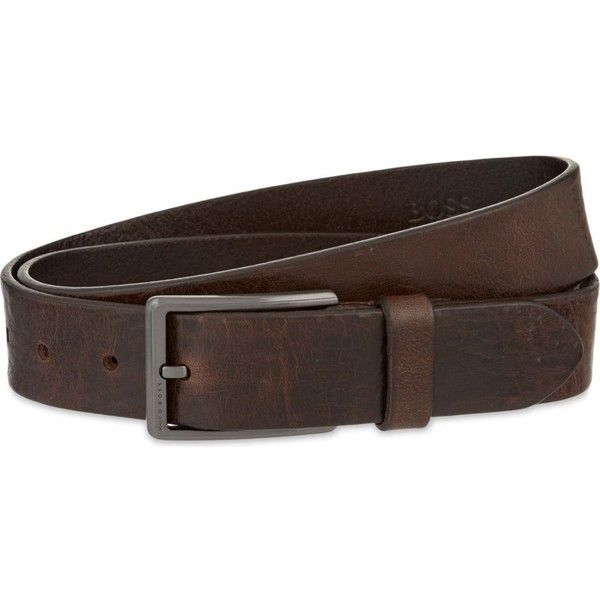 HUGO BOSS Sammy leather belt ($110) ❤ liked on Polyvore featuring men's fashion, men's accessories, men's belts and dark brown