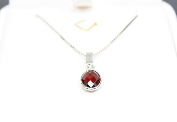 January Birthstone Necklace Garnet Pendant by MystiqueBlueJewelry