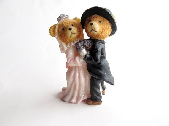 Item#194 a&b Vintage cake topper cake toppers teddy bear by AlbertsAttic a.7cm tall-6 cm wide (with veil) b.6 1/2 cm tall - 5 1/2 cm wide ( with bows)