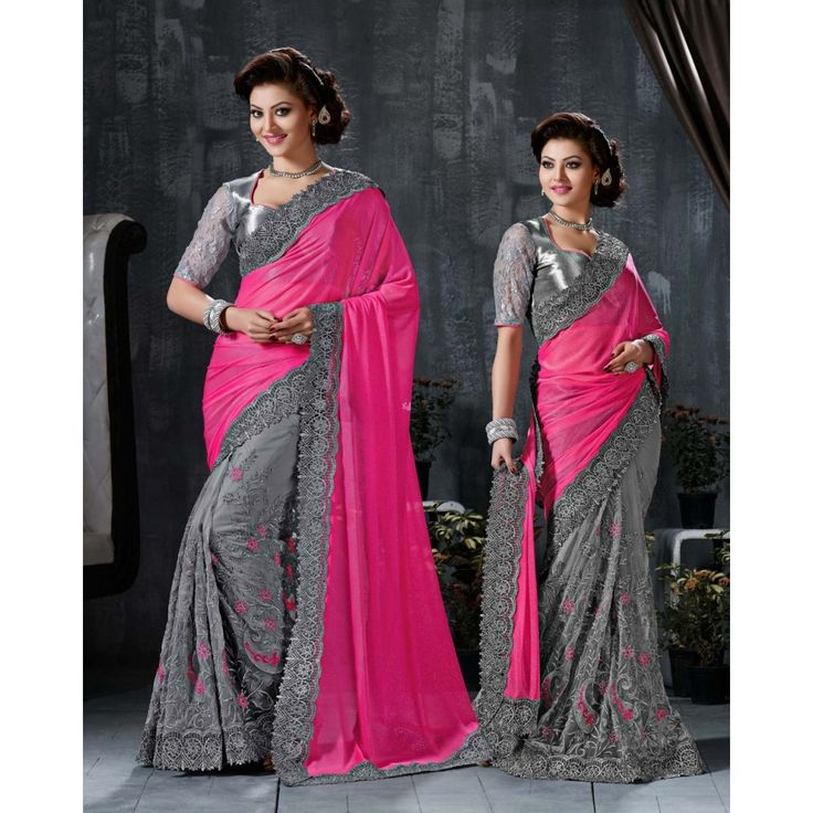 Urvashi Rautela Pink and Grey Net #Saree With Blouse- $112.66