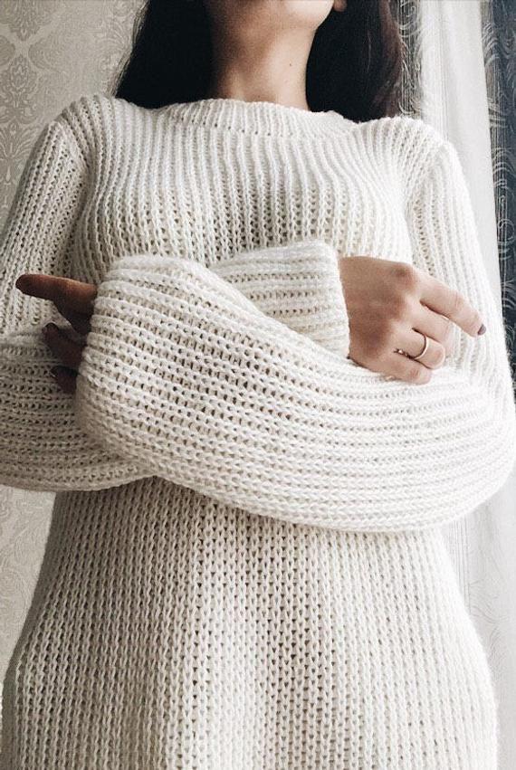 8464fc051095 White hand knitted semi wool sweater, women oversized sweater, hand ...