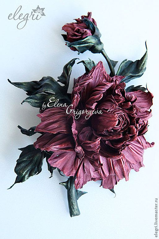 """ЦВЕТЫ ИЗ КОЖИ. Брошь """"Райская роза"""" - цветы из кожи,роза из кожи,роза из кожи брошь"""