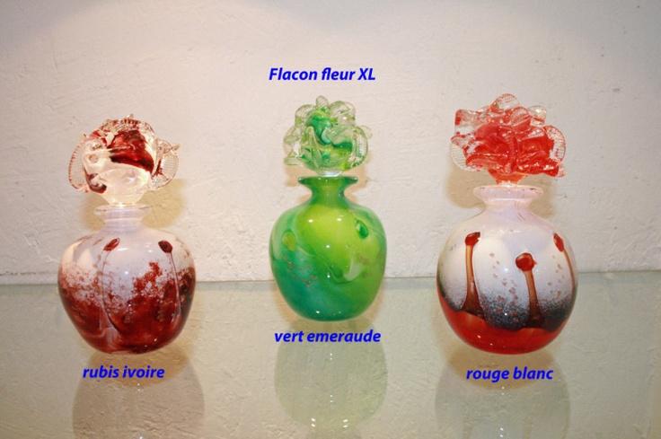 Flacon fleur verre souflé, Didier Saba à Biot