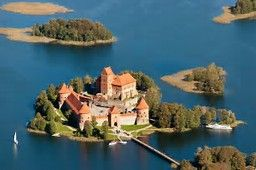 Trakai Island Castle is located in Trakai, Lithuania on an island in Lake Galvė. The construction of the stone castle was begun in the 14th century by Kęstutis, and around 1409 major works were completed by his son Vytautas the Great, who died in this castle in 1430. Trakai was one of the main centres of the Grand Duchy of Lithuania and the castle held great strategic importance.