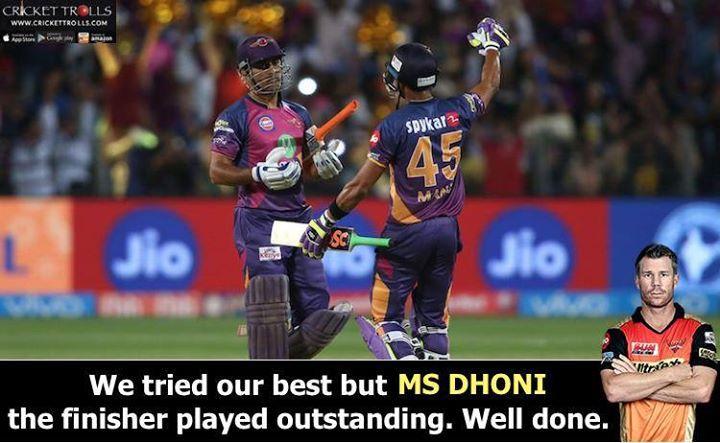 David Warner about MS Dhoni's knock against SRH #IPL2017 For more cricket fun click: http://ift.tt/2gY9BIZ - http://ift.tt/1ZZ3e4d