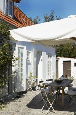 danish summerhouse . beautiful . my DREAM terrasse and home . red roof . shutters . sunbrella .