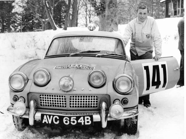 Simo Lampinen and Triumph Spitfire, 1965 Rally Monte Carlo