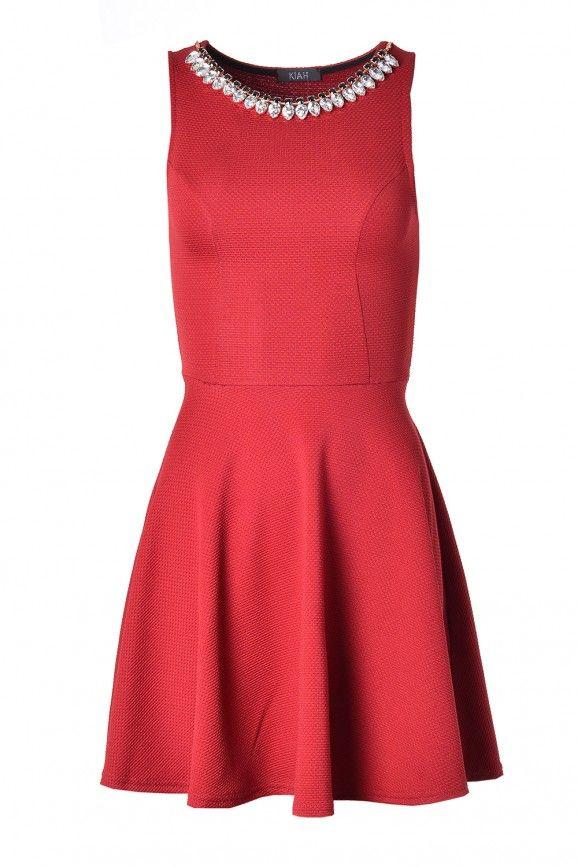 Blair Embellished Skater Dress in Red