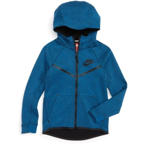 Boy's Nike 'Windrunner' Tech Fleece Hooded Jacket ($67) ❤ liked on Polyvore featuring men's fashion, men's clothing, men's activewear, men's activewear jackets and nike