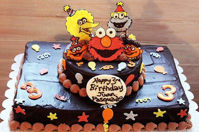 A nice choc ganache version of a sesame st cake. Not read recipe yet, but decorations could be made from cookies and pressed into the cake. Like this idea as prob easier to get the characters right than f up the whole cake. Less red food colouring too.