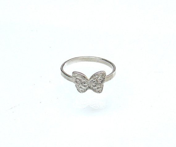 Butterfly Ring  Cute Silver Tone Ring  Silver by profoundgarden