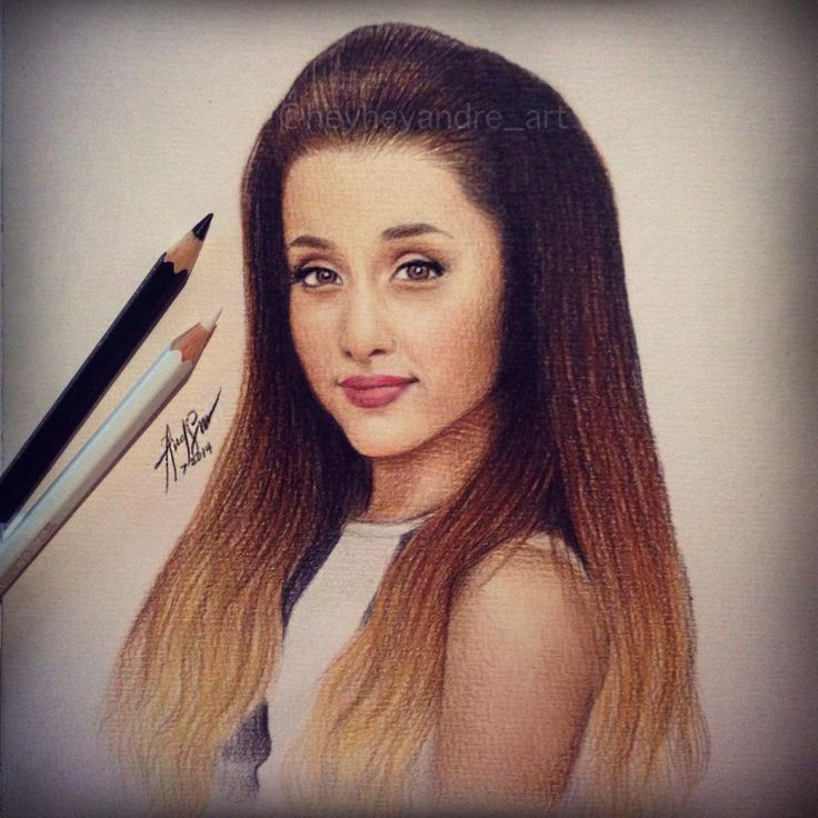 Ariana grande drawn with colored pencils