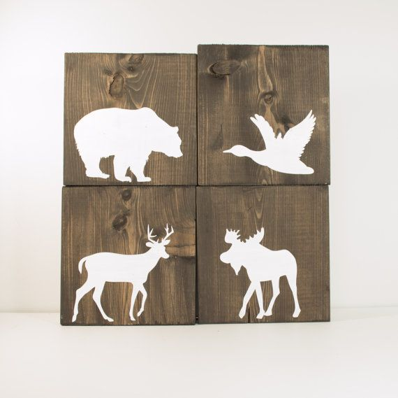 Rustic wood signs set of 4 signs rustic fall decor for Moose decorations home