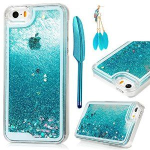 Amazon.com: iPhone SE Case,iPhone 5&5S Case - MOLLYCOOCLE Transparent Clear PC Hard Plastic Shell 3D Bling Sparkle Glitter Quicksand and Cute Star Flowing Liquid Cover for iPhone SE/5/5S - Blue: Cell Phones & Accessories