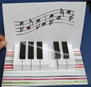Extreme Cards and Papercrafting: piano keyboard pop up card