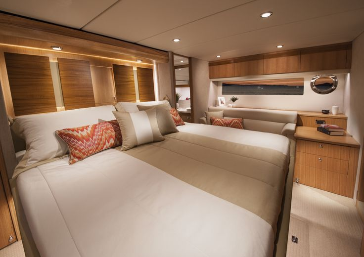 Riviera 57 Enclosed Flybridge Master Stateroom.