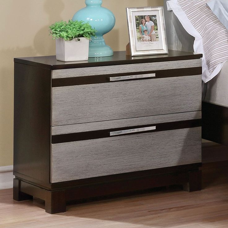 Furniture of America Neolin Contemporary Two-Tone Silver and Espresso Nightstand