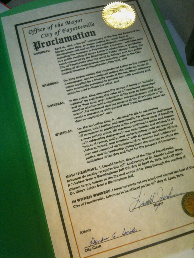 Proclamation from the Office of the Mayor, City of Fayetteville, Lioneld Jordan.