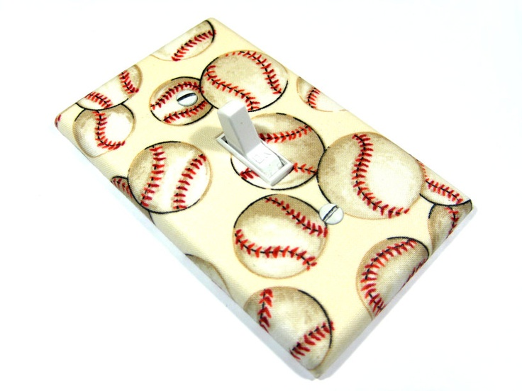 Baseball Softball Light Switch Cover Ivory Sports Theme Room Base Ball Teen Girls Bedroom Boys Nursery