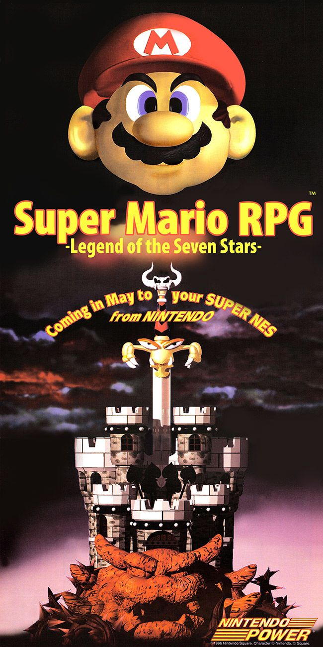 Super Mario RPG - Legend of the Seven Stars - Nintendo Power Poster - SNES  FACT: This is now considered an alternate Mario universe.