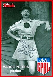 "Marjorie L. ""Marge"" Peters (September 11, 1918 – April 1, 2016) was an American baseball player. She was a pitcher who played from 1943 to 1944 in the All-American Girls Professional Baseball League. She was one of the sixty original players to join the All-American Girls Professional Baseball League for its inaugural season. She also has the distinction of having pitched the first ball in the first game ever played in the league.  She played for the Rockford Peaches."