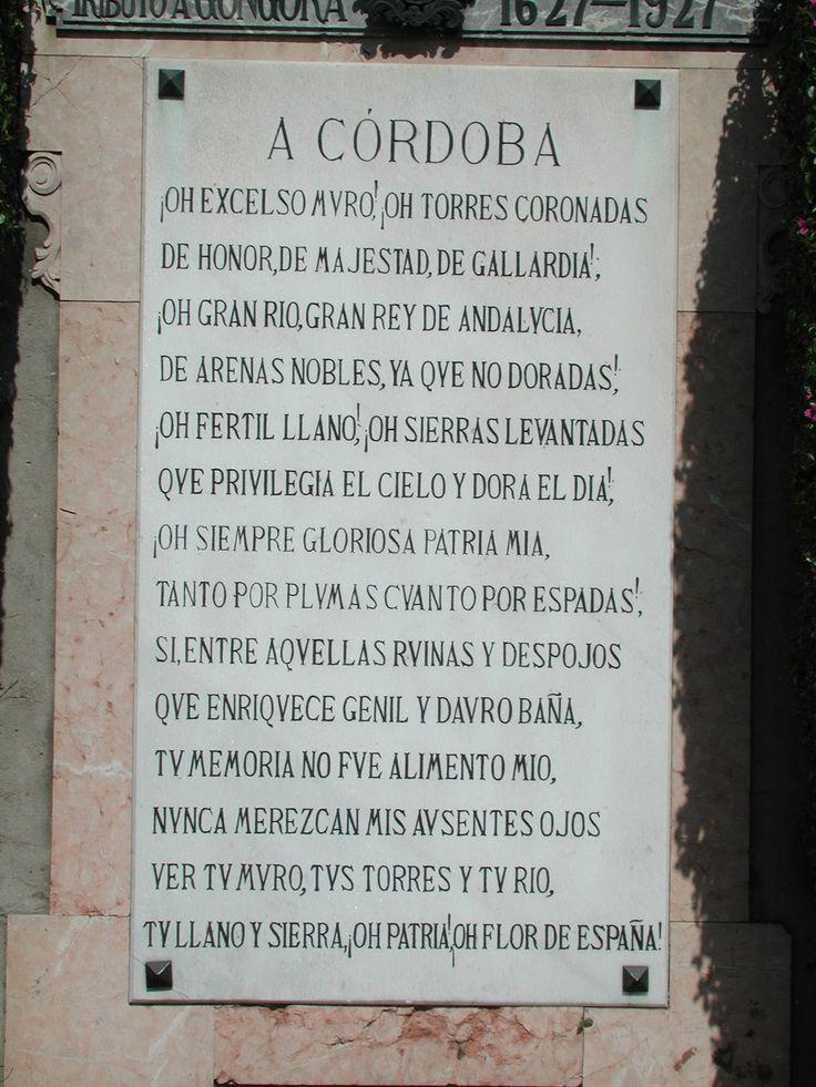 placa en la muralla del Soneto a Córdoba de Luis de Góngora y Argote