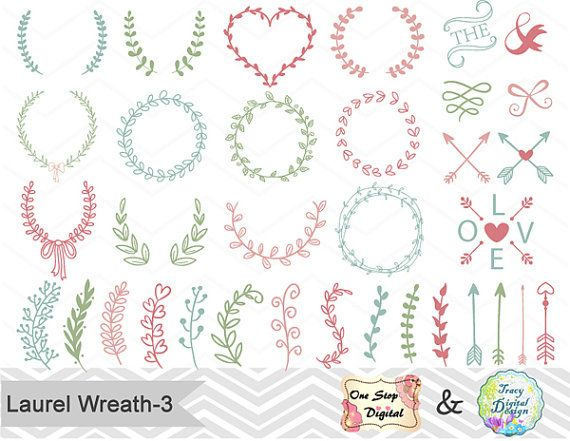 Digital Hand Drawn Laurel Wreath Leaf Clipart, Laurel Wreath Clip Art, Leaf Laurel Branches, Arrow Clipart, pink blue green wreath, 00152